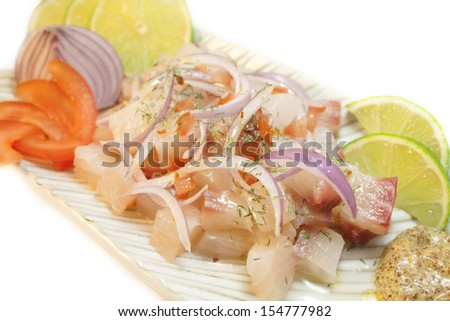 Ceviche. Peruvian food. Raw fish marinated on lime. - stock photo