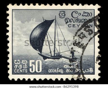 CEYLON - CIRCA 1966: A stamp printed in the Ceylon shows image of a sailing ship, circa 1966