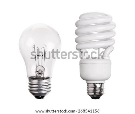 CFL Fluorescent Light Bulb isolated on white background - stock photo