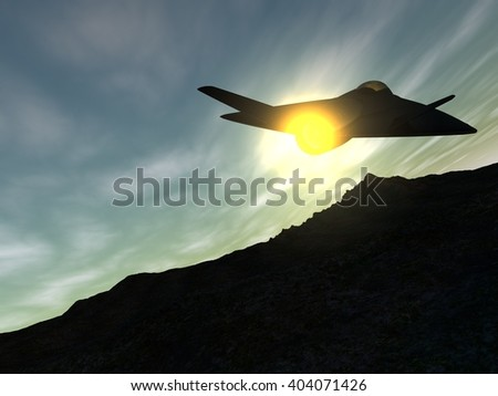 CG backside illustration of a futuristic fictional black delta wing stealth fighter aircraft flying in afterburning mode at the sunset. 3D illustration