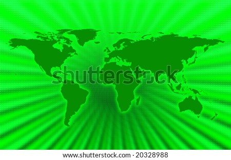 CG map of planet earth over green  background - stock photo