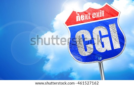 cgi, 3D rendering, blue street sign