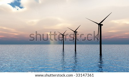 CGI of 3 wind turbines