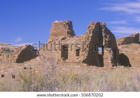 Chaco Canyon Indian ruins, NM, circa 1060 AD, The Center of Indian Civilization, NM - stock photo