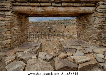 Chacoan Great Kiva at Casa Rinconada at the Chaco Culture National Historical Park in New Mexico - stock photo