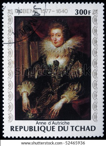CHAD - CIRCA 1978: A post stamp printed in Republic of Chad shows draw by Peter Paul Rubens - Anne of Austria, circa 1978 - stock photo