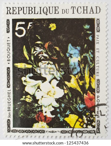 CHAD - CIRCA 1977: a stamp from Chad shows a painting of a bouquet of flowers by Flemish artist Jan Brueghel, circa 1977 - stock photo