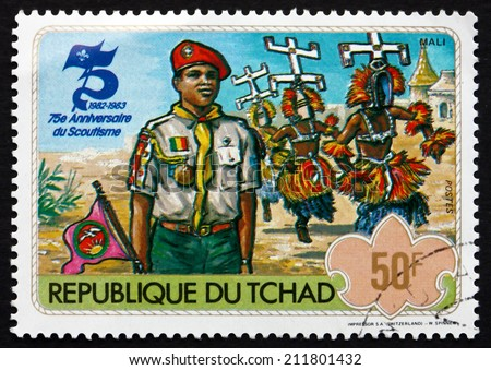 CHAD - CIRCA 1982: a stamp printed in Chad shows Boy Scout from Mali, Boy Scouts, 75th Anniversary, circa 1982 - stock photo
