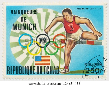 CHAD - CIRCA 1972: A stamp printed in Chad, shows Olympic Games in Munich, steeplechase, series, circa 1972