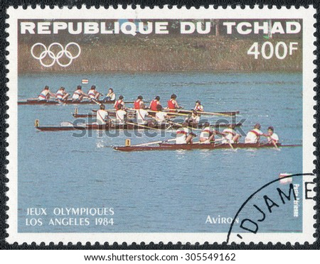 """CHAD - CIRCA 1984: a stamp printed in Chad shows shows a series of images """"Olympic Games in Los Angeles in 1984"""", circa 1984 - stock photo"""