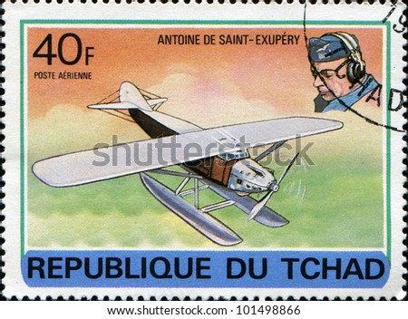 CHAD - CIRCA 1978: A stamp printed in Republic of Chad shows Antoine de Saint-Exupery, series devoted history of aviation, circa 1978 - stock photo