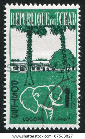 CHAD - CIRCA 1961: stamp printed by Chad, shows Logone and elephant, circa 1961