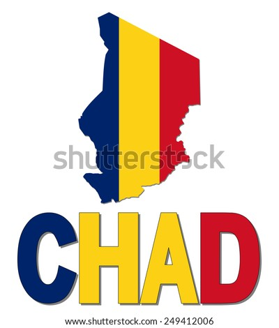 Chad map flag and text illustration - stock photo