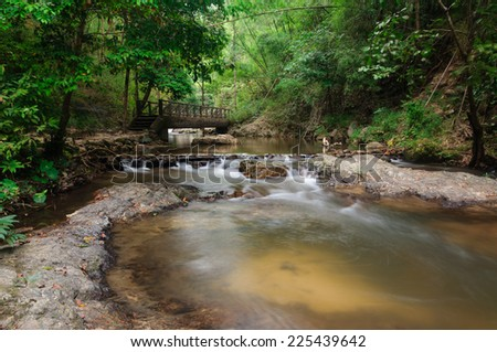 Chae son water fall in Thailand - stock photo