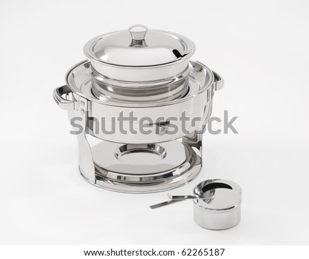 chafing dish made of stainless steel - stock photo