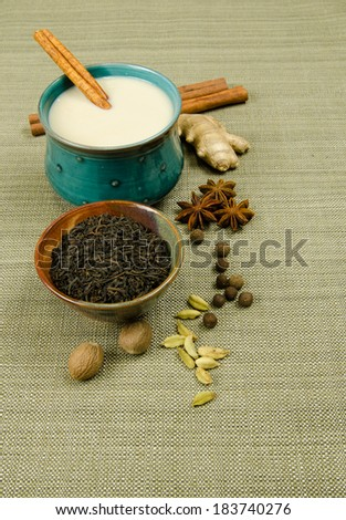 Chai Masala Latte tea and spice ingredients. - stock photo