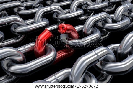 Chain and bad link (done in 3d) - stock photo