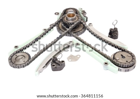 chain and camshaft, crankshaft gears,timing set engine, isolated - stock photo