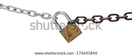 Chain and padlock isolated on white background  - stock photo