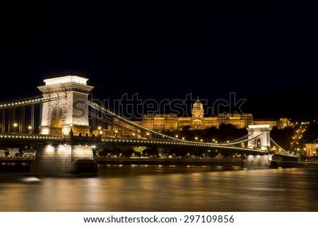 Chain Bridge And Buda Castle, Budapest, Hungary - stock photo