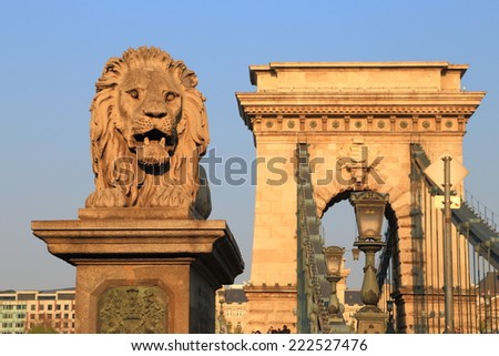 Chain bridge and lion statue, Budapest, Hungary - stock photo