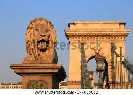 Chain bridge and the nearby lion statue, Budapest, Hungary - stock photo