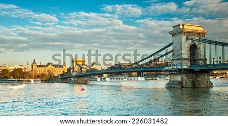 Chain Bridge, Budapest - stock photo