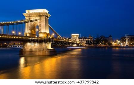Chain bridge Budapest, Hungary at night - stock photo