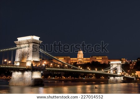 Chain Bridge, Budapest, internet tax and corruption  - stock photo