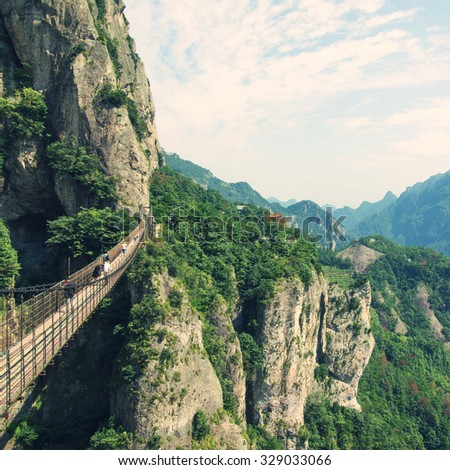 Chain bridge in Wenzhou, China yandang Mountain