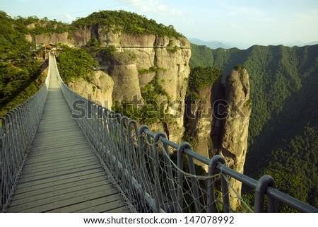 Chain Bridge Mountains (in Xianju County, Zhejiang Province, China) - stock photo