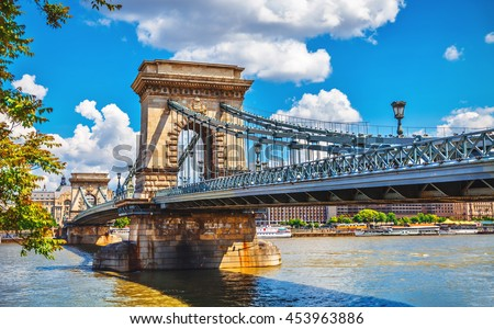 Chain bridge on danube river in budapest city hungary - stock photo