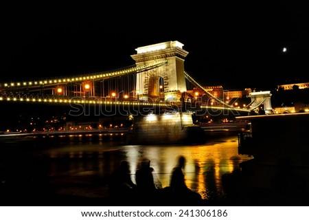 Chain Bridge over Danube river at night, Budapest, Hungary, Europe - stock photo