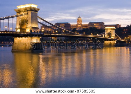 Chain Bridge, Royal Palace and the Danube River in Budapest - stock photo