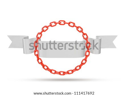 Chain circle with ribbon space for copy - stock photo