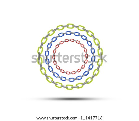 chain circle with space for copy or text - red green blue - stock photo