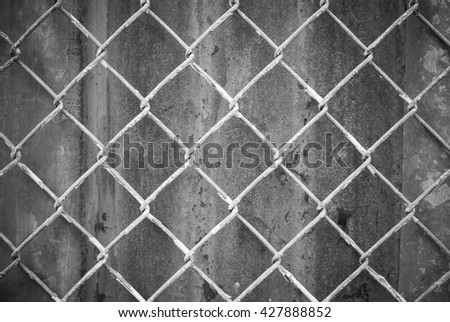 Chain fence, Steel mesh fence, Steel wire mesh on rusty galvanized background, Rusty background - stock photo