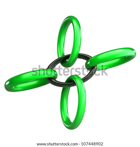 Chain green and black 3d - stock photo