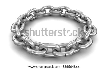 chain links united in ring. Image with clipping path - stock photo