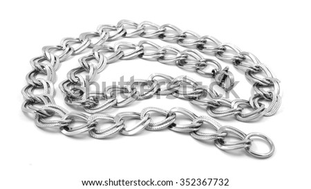Chain necklace for women. Stainless steel. White background