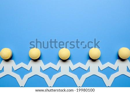 Chain of figures - stock photo