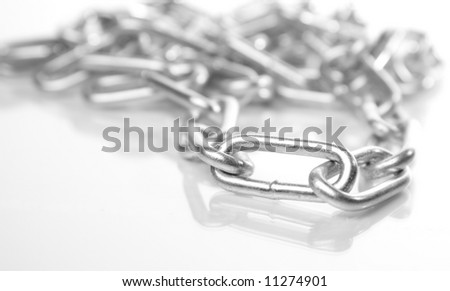 chain of steel isolated on white background - stock photo