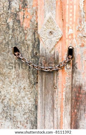 chain on door - stock photo