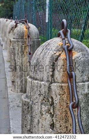chain on post - stock photo