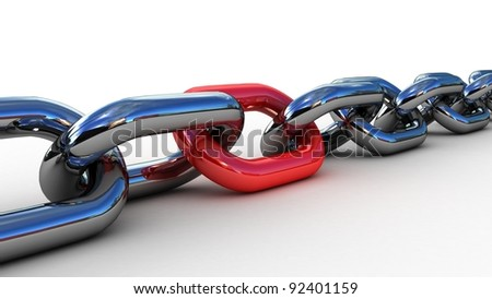 Chain with a red link, 3D - stock photo