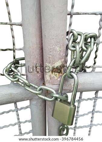 Chain with padlock locked iron gate house. on white background - stock photo