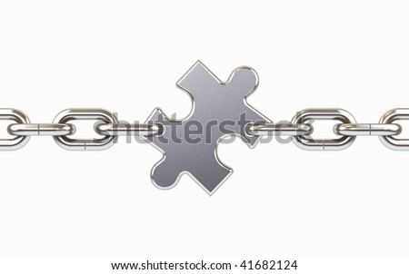 Chain with puzzle on a white background. - stock photo