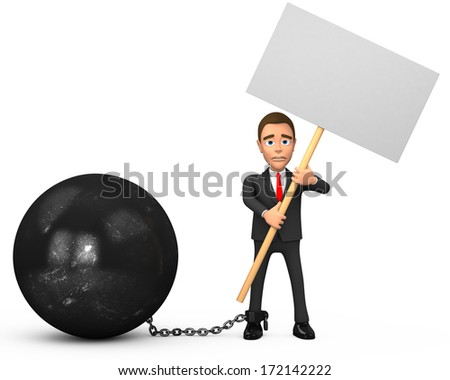 chained businessman with poster - stock photo
