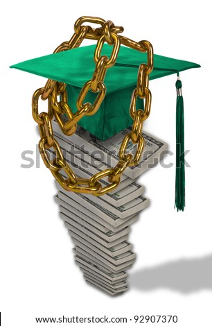Chained Down By Student Loans. - stock photo