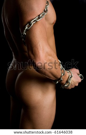 Chained male nude